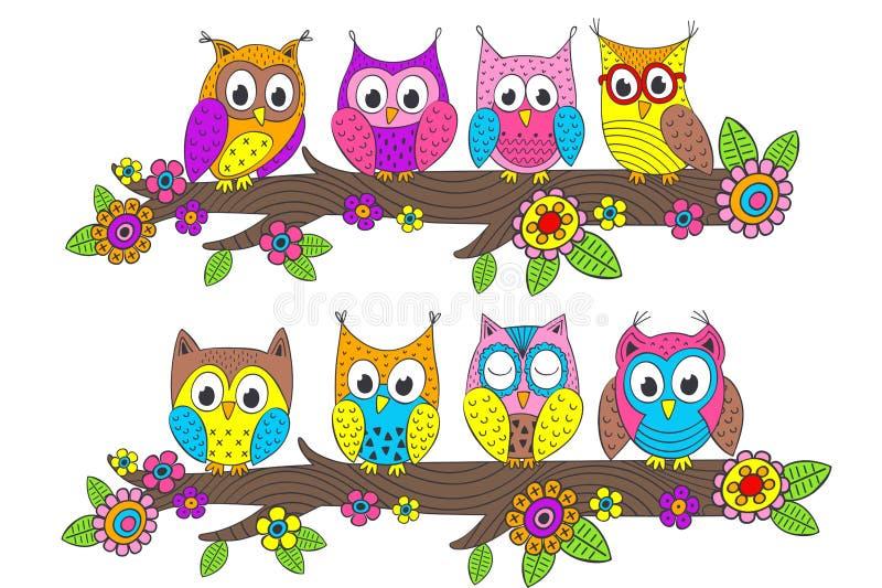 Funny owls on branch stock illustration