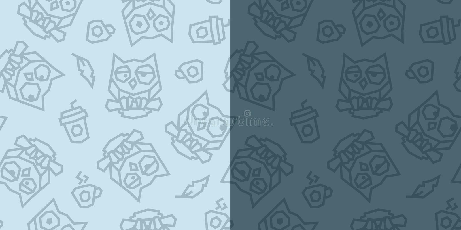 Funny owls and morning coffee low poly seamless pattern. Light blue and dark blue versions. Vector EPS10 stock illustration