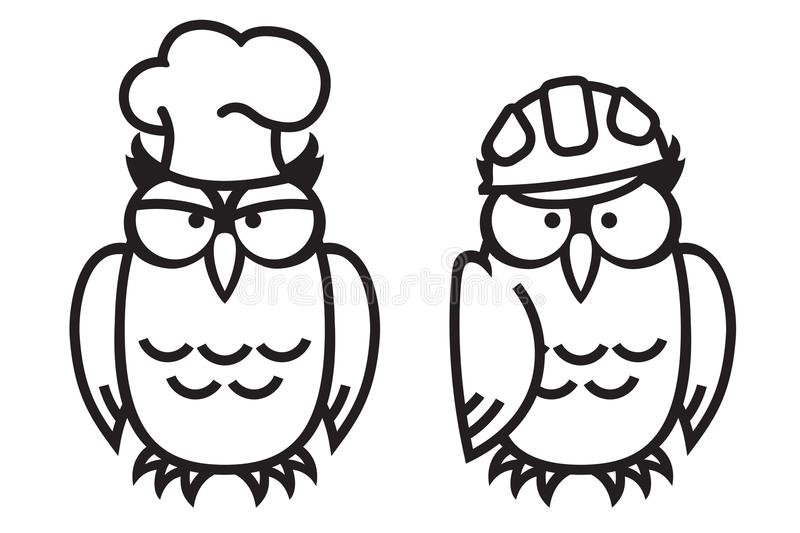Funny owls: owl-cock and owl-worker. royalty free illustration