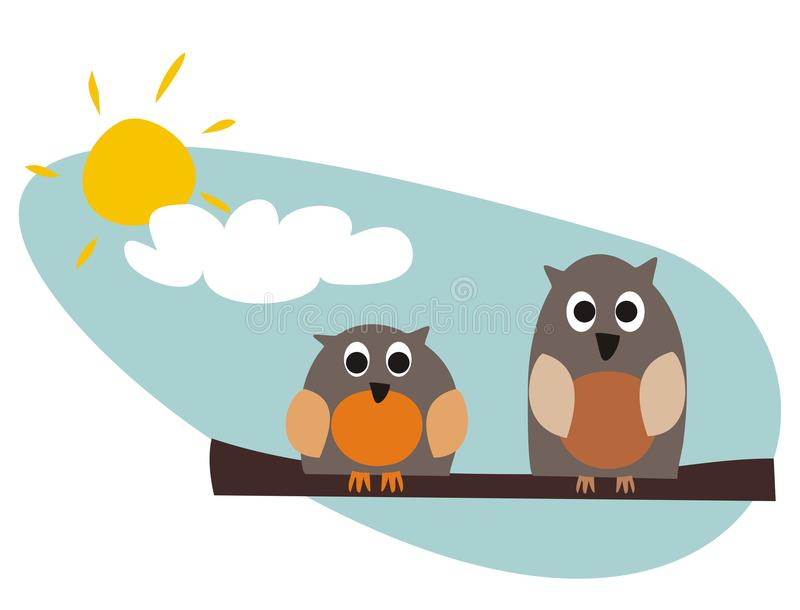 Funny Owls Sitting On Branch On A Sunny Day Royalty Free Stock Photography