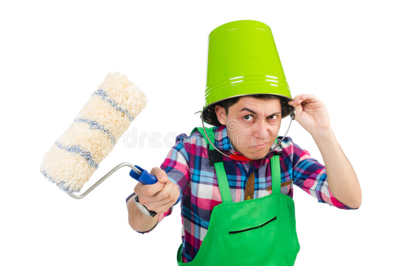 Funny painter. Isolated on white royalty free stock image