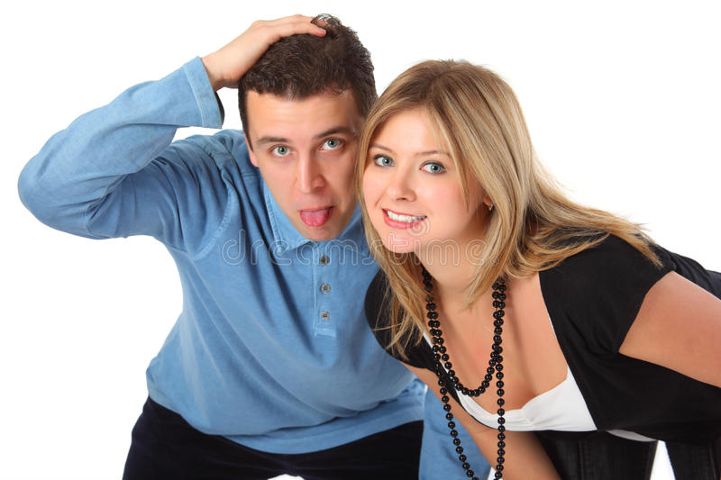 Funny pair. On white background royalty free stock photography