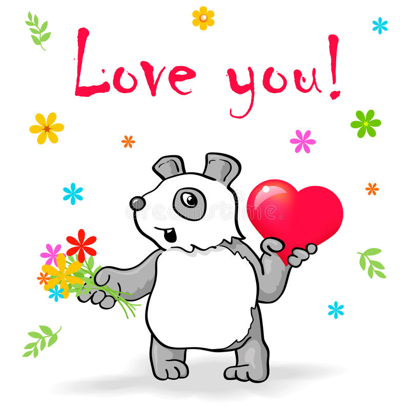 Funny panda with heart say Love You! royalty free illustration