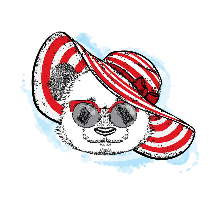 Free Funny Panda In A Beautiful Beach Hat. Vector Illustration For A Postcard Or Poster, Print For Clothes, Cup Or Cover. Bear Painted Stock Photos - 93176533