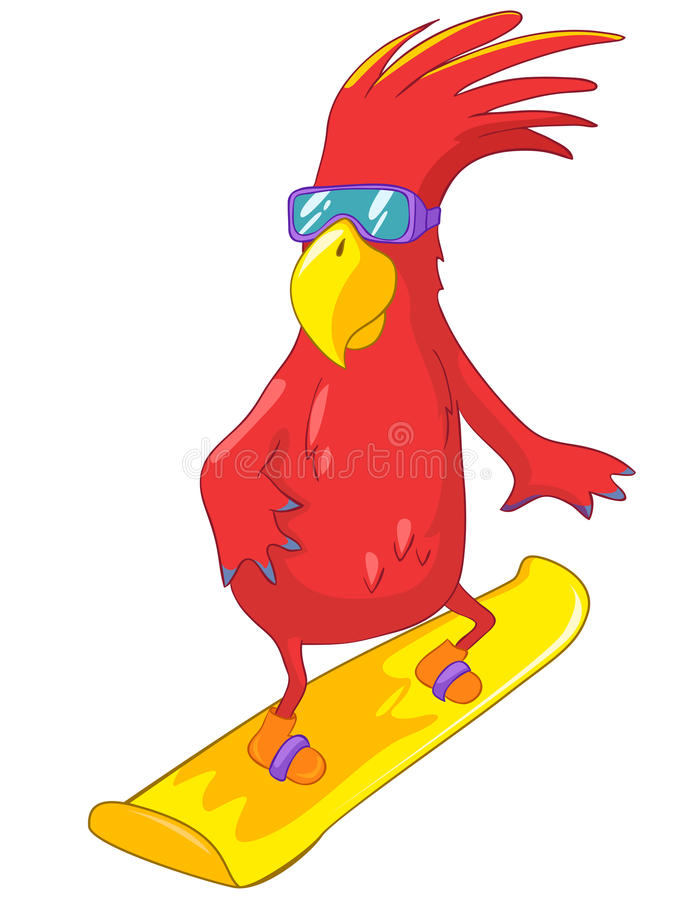 Download Funny Parrot. Snowboarding stock vector. Illustration of action - 25162113