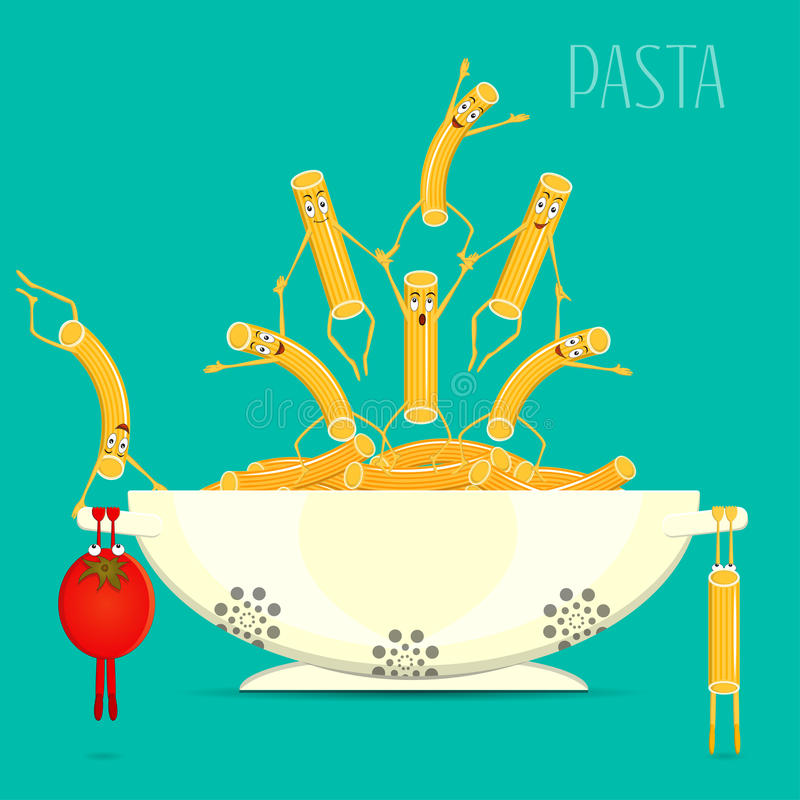 Pasta in the bowl vector. Funny, cartoon pasta and tomato on a plate. Cartoon characters smiling and laughing. Funny pasta, food. The illustration on the theme royalty free illustration