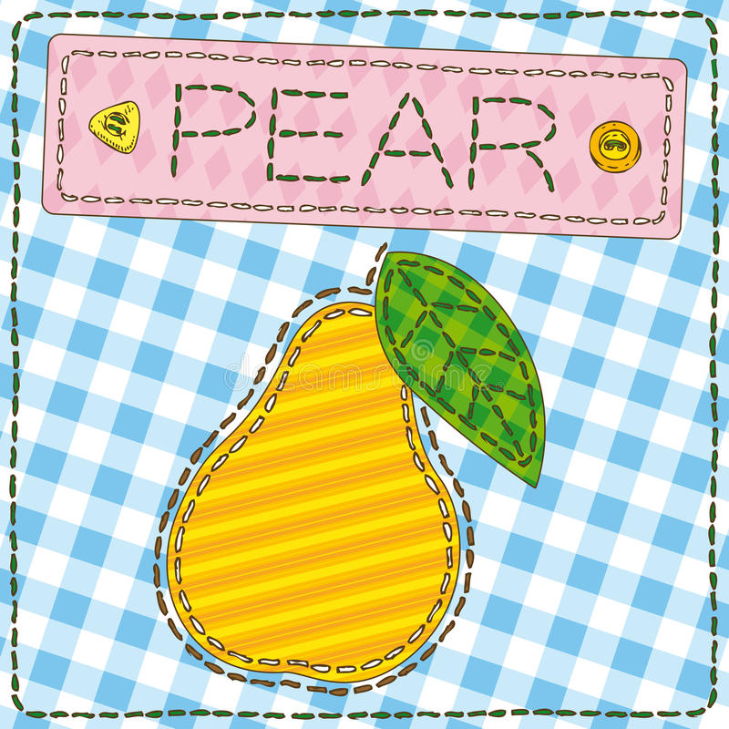Funny patchwork with sweet pear. Vector illustration vector illustration