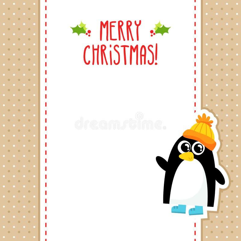 E Card Cartoon Characters : Funny penguin vector christmas greeting card design