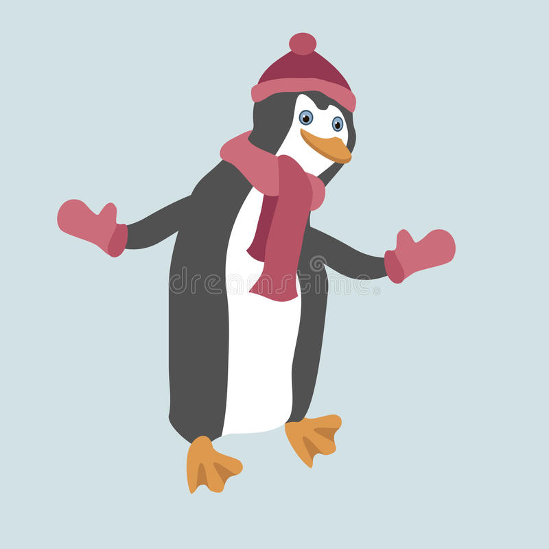 Funny penguin wearing winter clothes. stock illustration