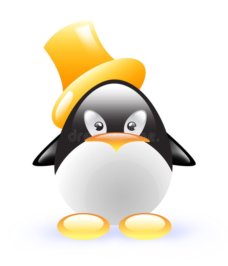 Funny Penguin With Yellow Cylinder Royalty Free Stock Image