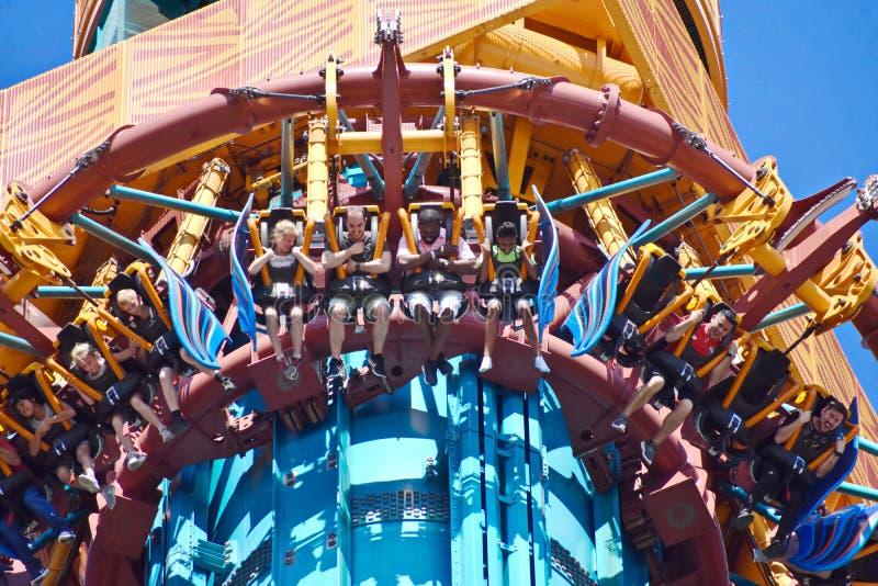 Funny People enjoying amazing Falcon`s Fury attractions at Bush Gardens Theme Park. stock photos