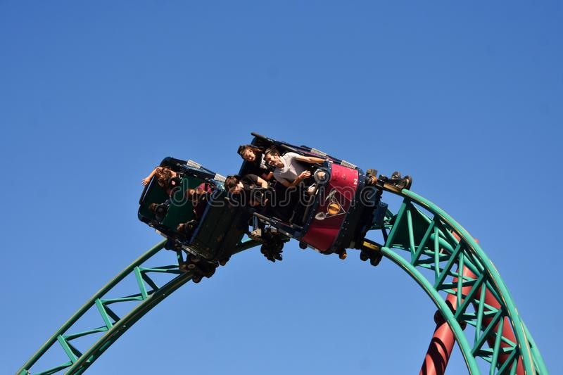 Funny people enjoying a spin in Cobra`s Hunt Roller Coaster Tampa Bay aBush Gardens Tampa Bay. stock photography