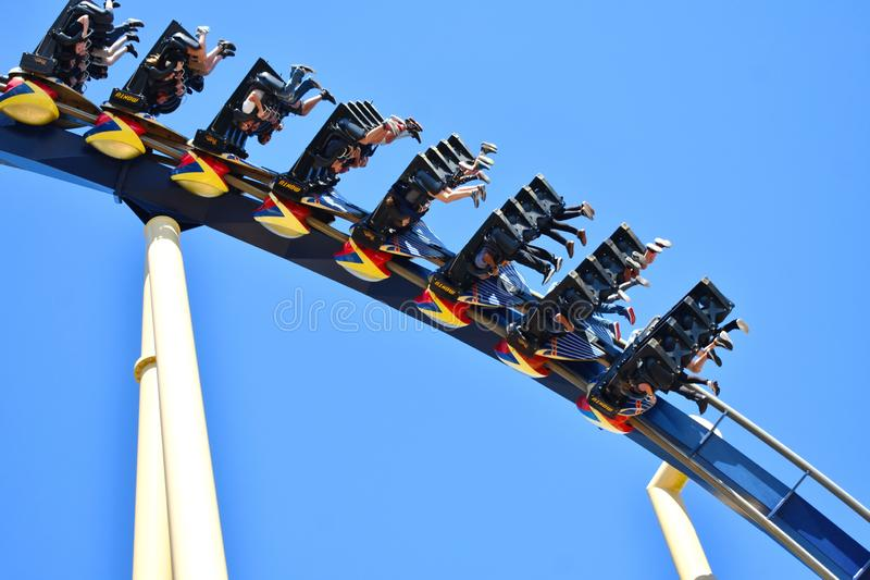 Funny People face down in amusement Montu Rollercoaster. at Bush Gardens Tampa Bay Theme Park. royalty free stock photos