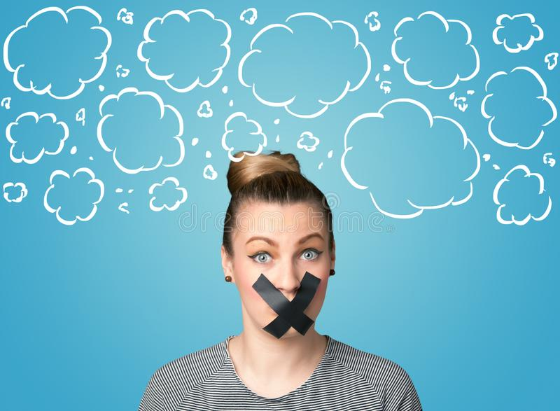 Funny person with taped mouth. And hand drawn clouds around head royalty free stock image