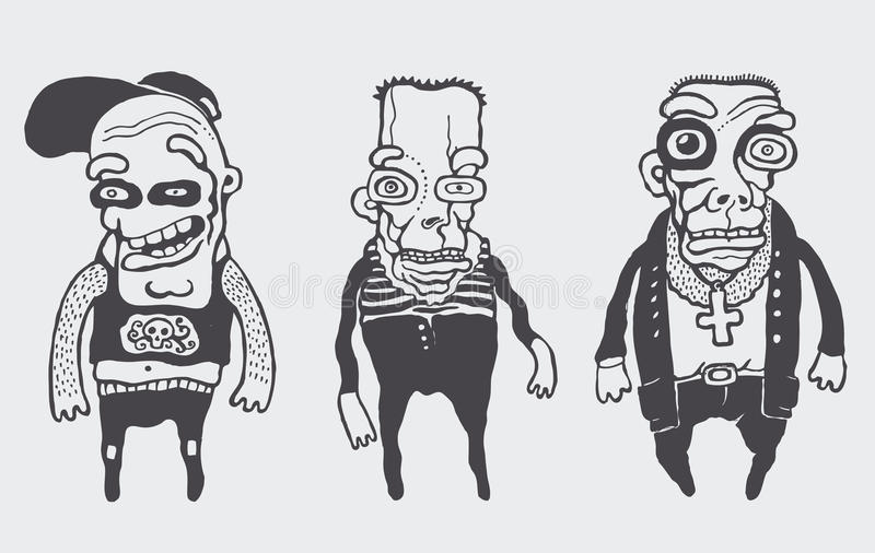 Funny personages set. Vector illustration royalty free illustration