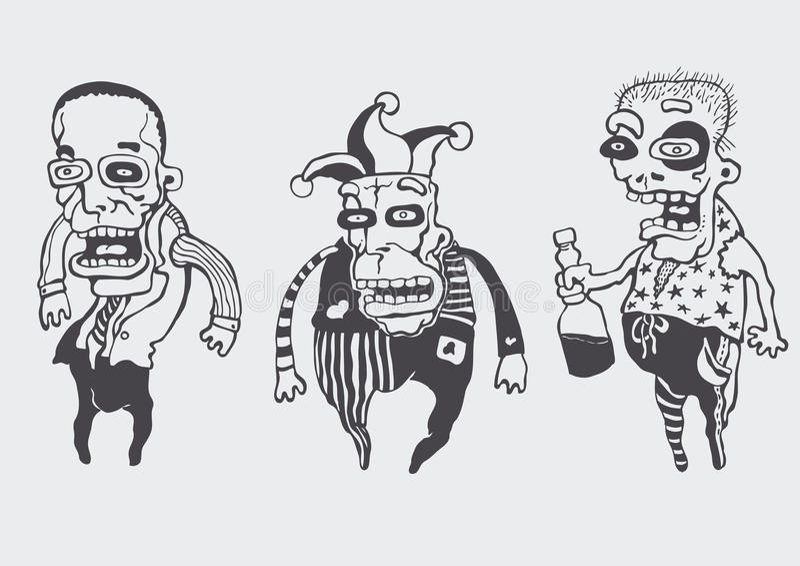 Funny personages set. Vector illustration stock illustration