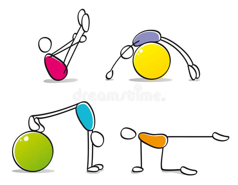 Funny persons practicing pilates vector illustration