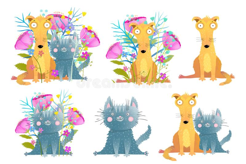 Funny pets cat and dog collection with flowers and isolated. stock illustration