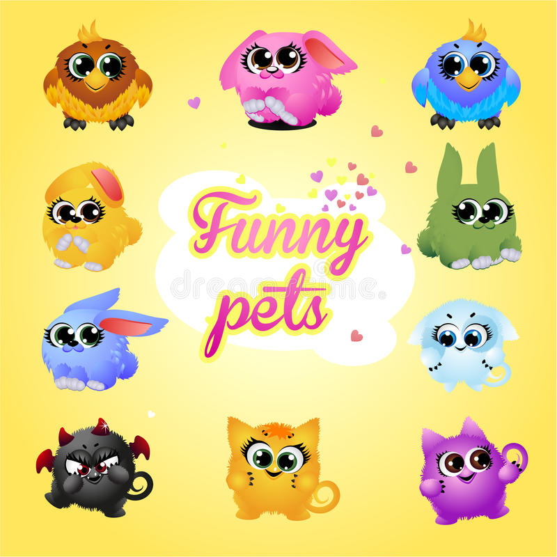 Funny pets icon set royalty free illustration