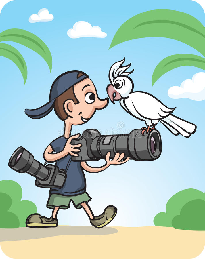 Free Funny Photographer And Curious Parrot Royalty Free Stock Image - 86067786