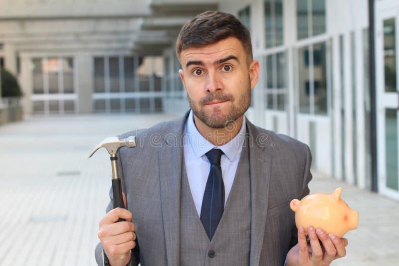 Funny pic of desperate broke businessman stock image