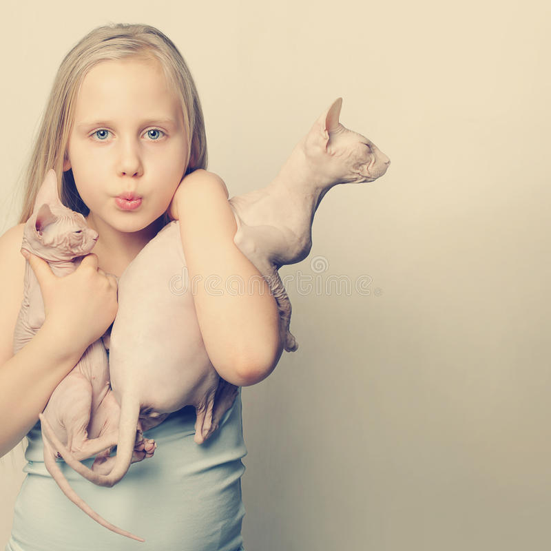 Funny picture of cute girl and cats royalty free stock photography