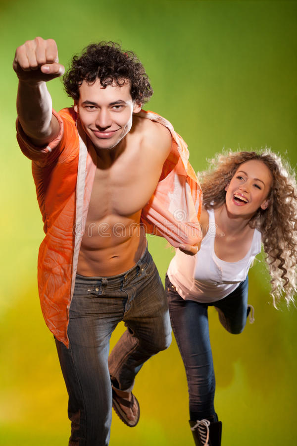 Funny picture of a handsome man and pretty woman royalty free stock images