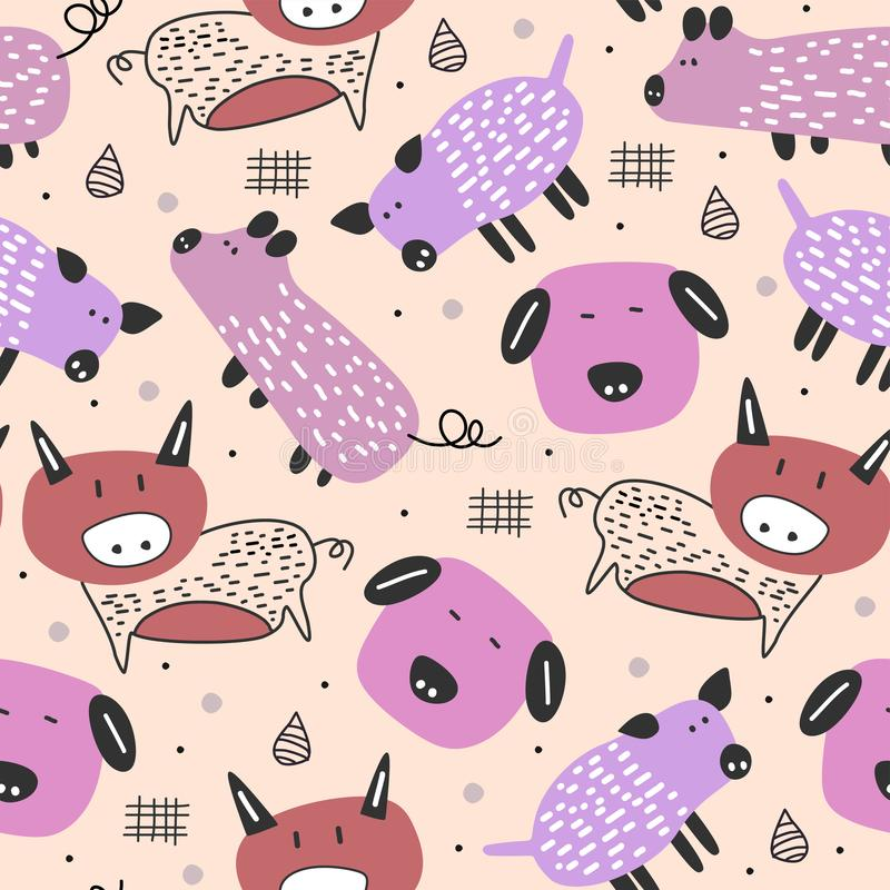 Funny pig drawing scandinavian style seamless pattern with feminine pastel colors vector illustration cute characters. Background, baby, texture, design stock illustration