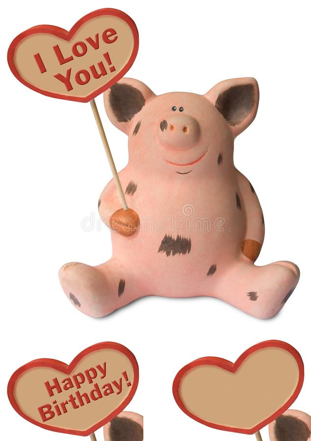 Funny pig with heart stock photo