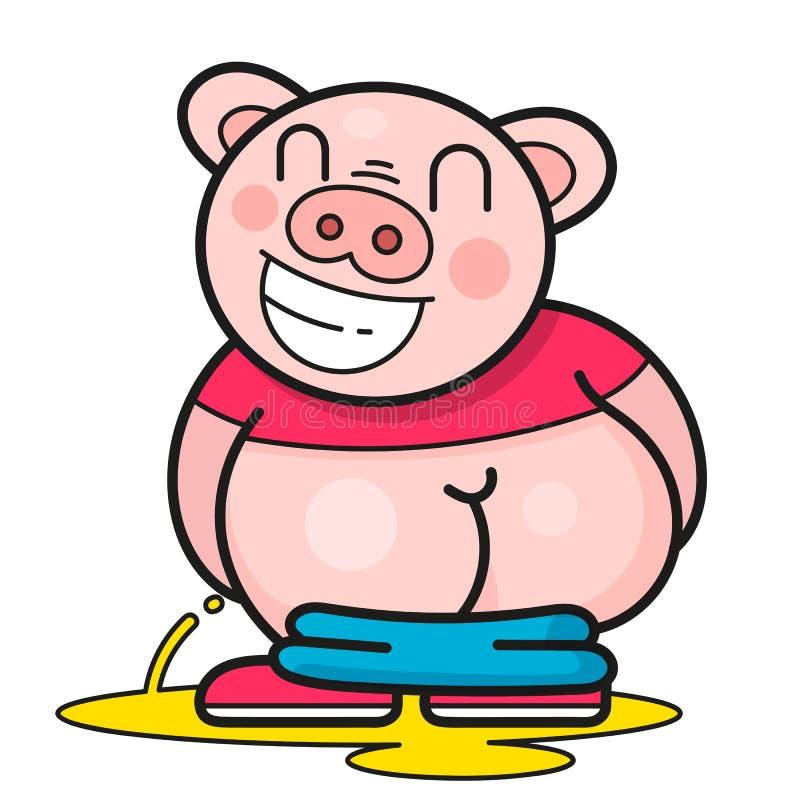 Funny Pig Laughs At A Good Joke Vector royalty free illustration