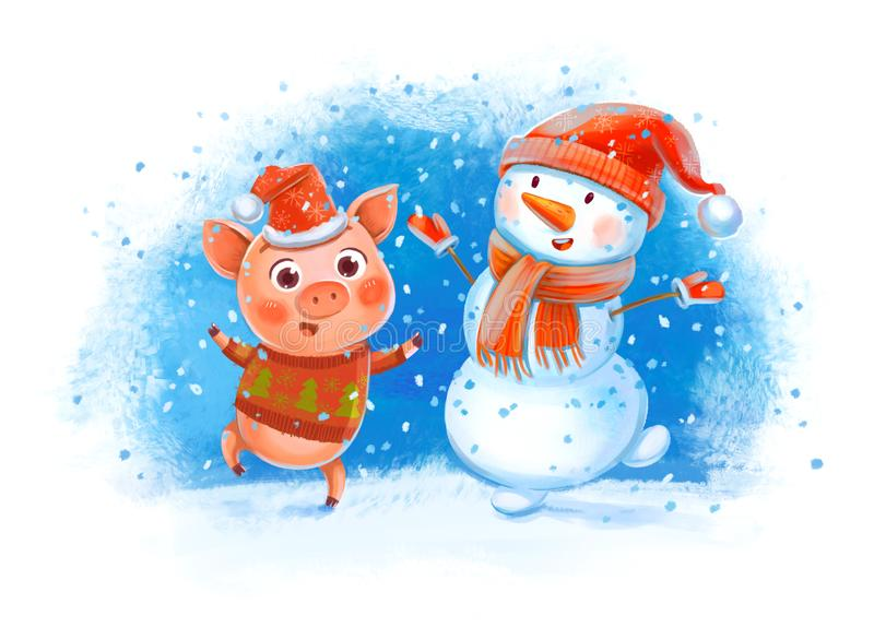 Funny Pig and Snowman. Funny pig jumping with a snowman. New Year greeting card. Funny cartoon character. Hand-drawing Illustration vector illustration