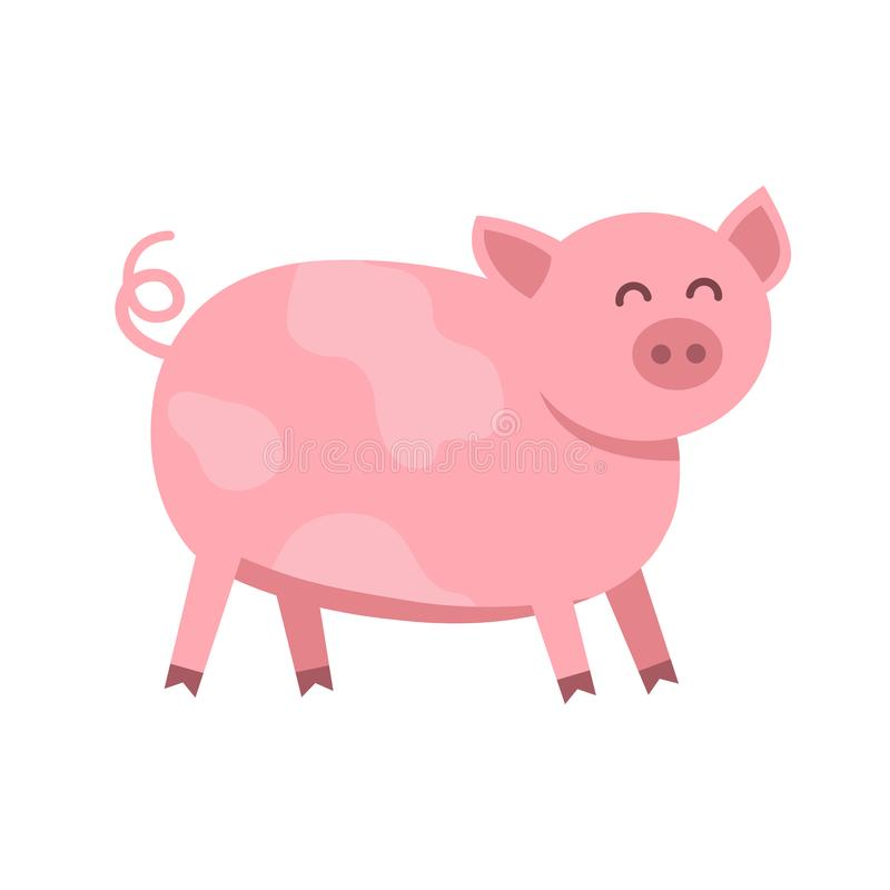 Funny pig vector flat illustration isolated on white background. Cute farm animal piggy icon cartoon character. stock illustration
