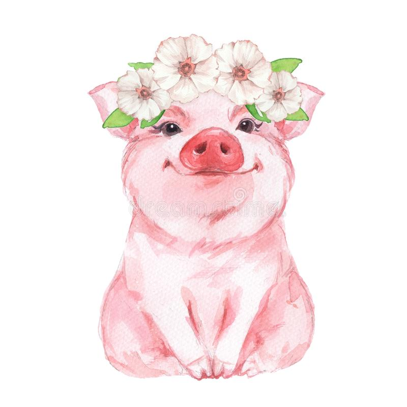 Funny pig wearing a wreath. Isolated on white. Cute watercolor illustration vector illustration