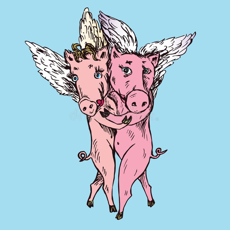 Funny piggies couple with lovely angel wings dancing tango, hand drawn doodle, sketch. In pop art style, color vector illustration vector illustration