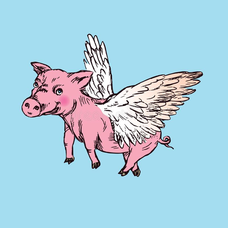 Funny piggy with lovely angel wings, hand drawn doodle, sketch. In pop art style, color vector illustration vector illustration