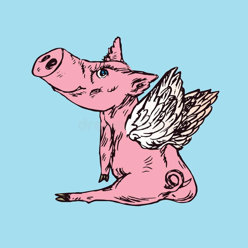 Funny piggy with lovely angel wings sitting, hand drawn doodle, sketch. In pop art style, color vector illustration royalty free illustration
