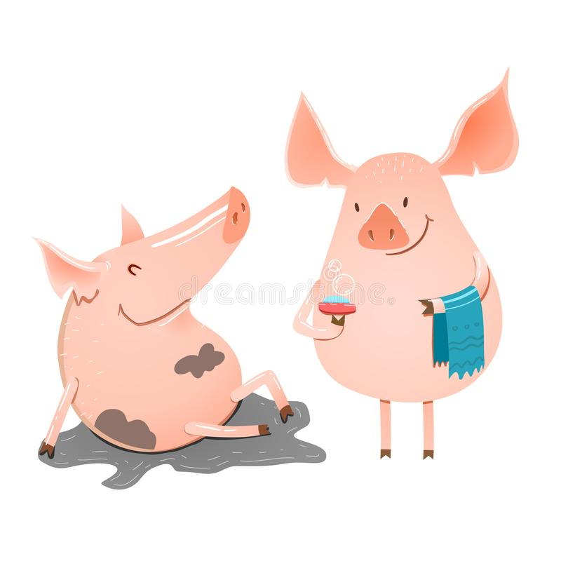 Funny piglets are swimming stock illustration