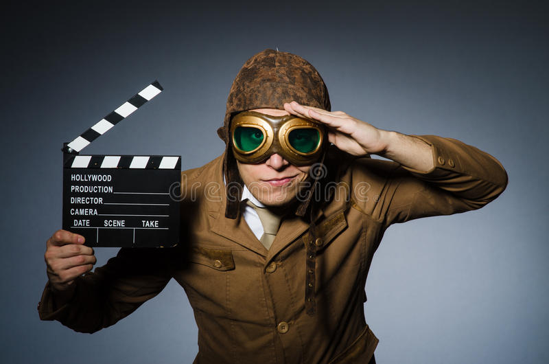 Funny pilot with goggles stock photos