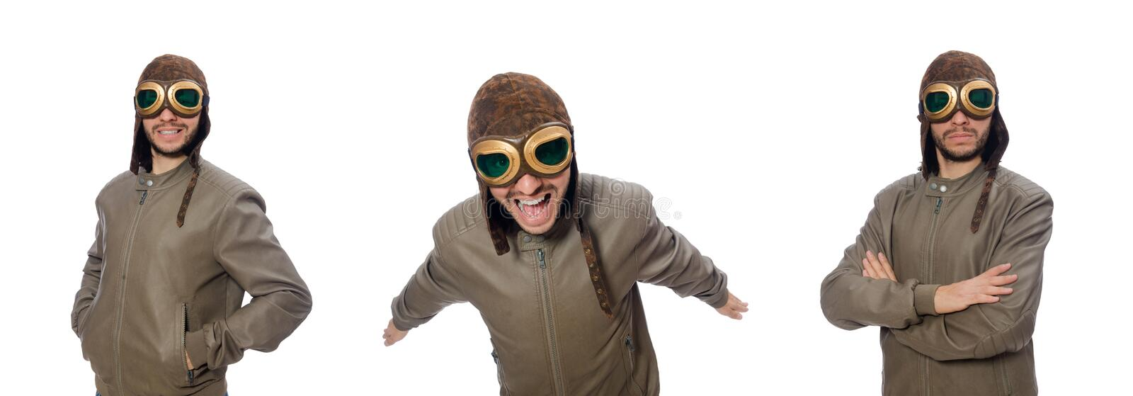 Funny pilot isolated on the white royalty free stock images