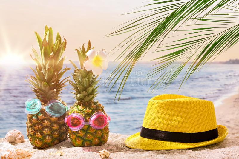 Funny pineapples with hat on sand beach at resort royalty free stock image