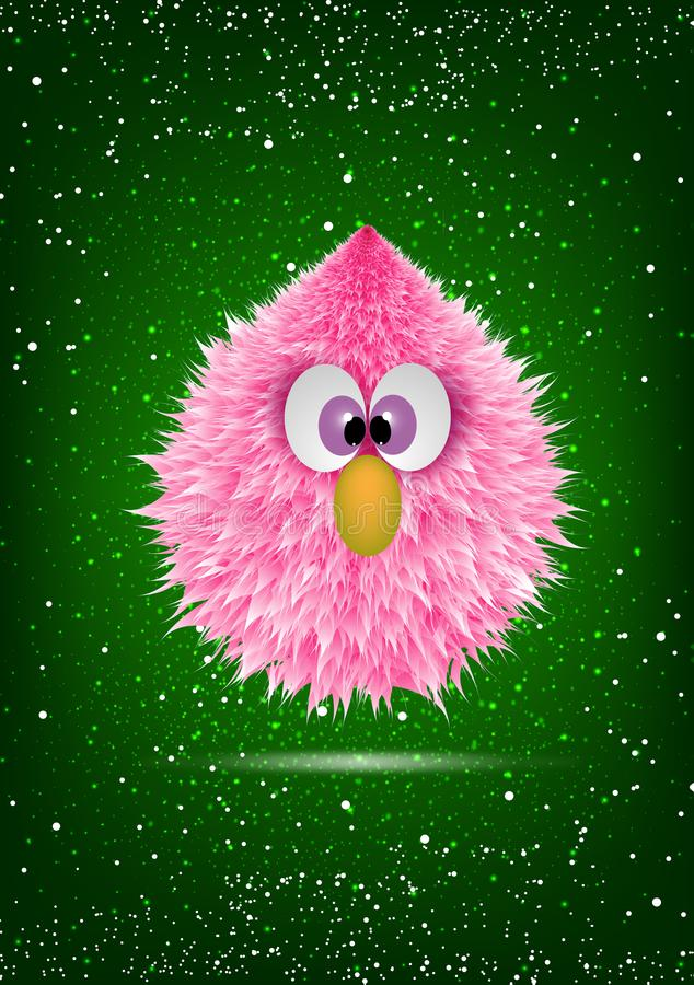 Funny Pink Baby Hairy Monster Face Cartoon. Wallpaper illustration of a little hairy monster with big eyes and orange nose. Fantasy chicken, cute chick on green stock illustration