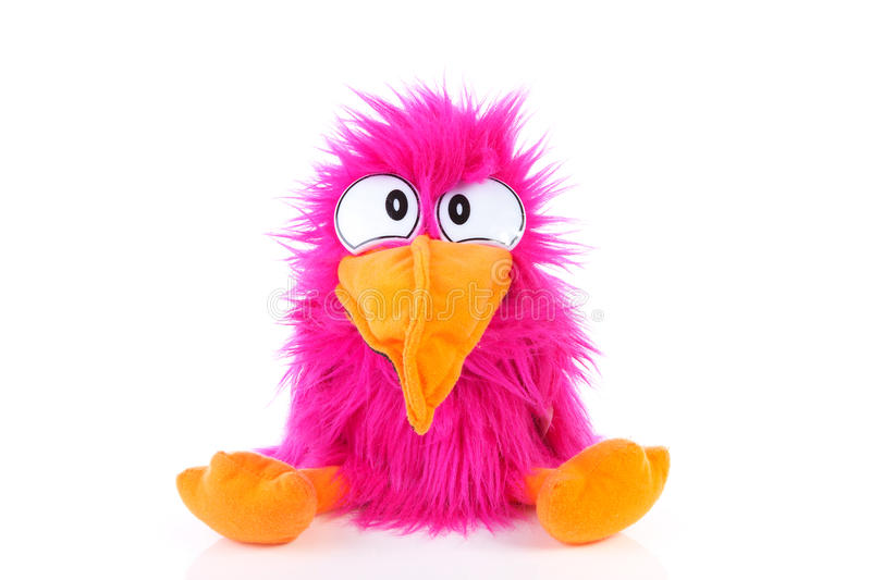 Funny pink bird puppet