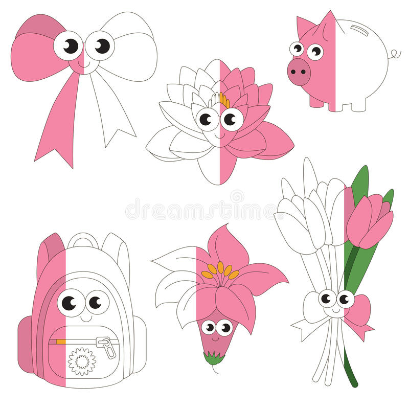 Funny Pink Color Objects, the big kid game to be colored by example half. vector illustration