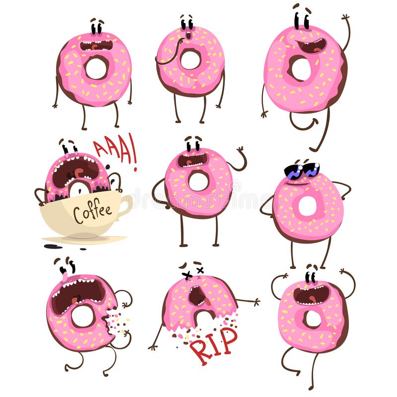 Funny pink donut cartoon character set, cute doughnut with different emotions vector Illustrations vector illustration