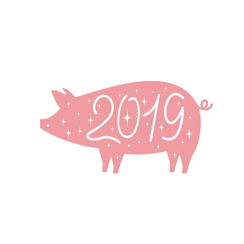 Funny profile of a pink pig with the inscription 2019 on its side stock illustration