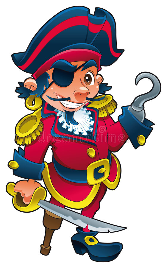 Funny pirate. Vector and cartoon illustration