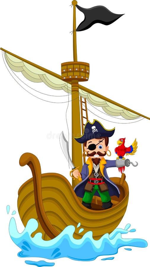 Funny pirate cartoon above ship stock illustration