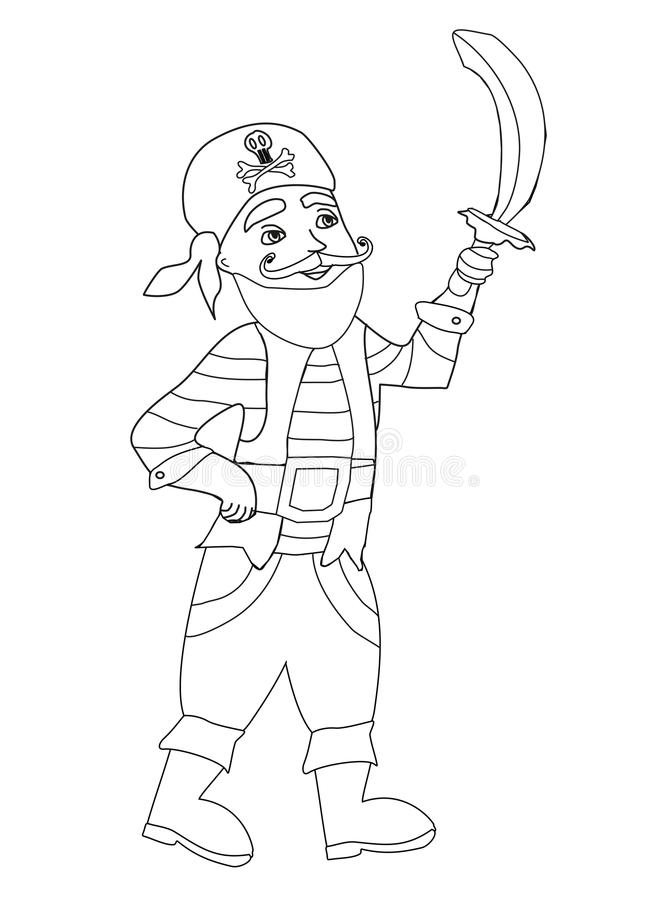 Funny Pirate - Coloring Book Stock Vector - Illustration of hand ...