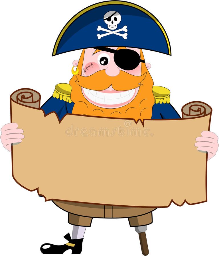 Funny Pirate Looking At Treasure Map Stock Vector ...
