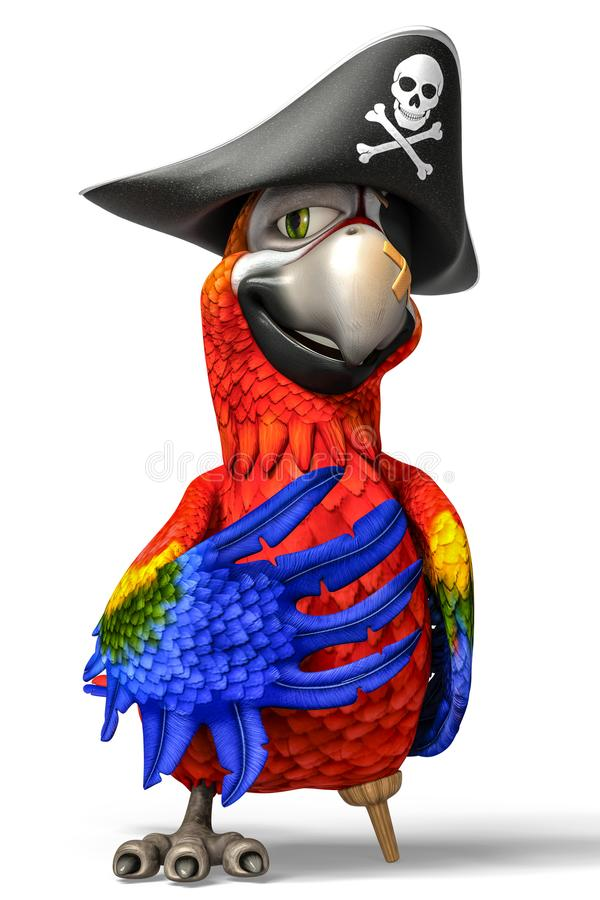 Pirate parrot cartoon. This funny pirate parrot cartoon will be a very cool choice for your illustration or project royalty free illustration
